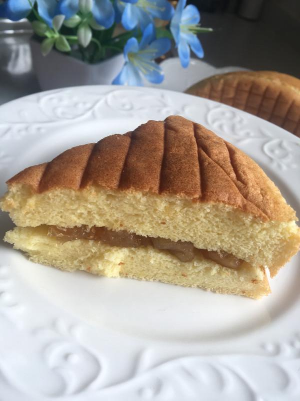 苹果酱夹心蛋糕 8寸原味基础蛋糕 不知道算戚风还是海绵的做法