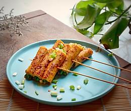 #冰箱剩余食材大改造#周末撸串:烤豆腐卷的做法