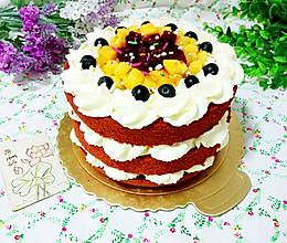 红丝绒水果裸蛋糕的做法