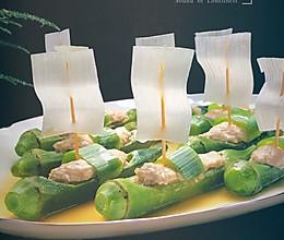 秋葵酿鸡肉的做法
