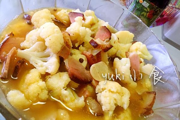 #菁选酱油试用之花菜烧腊肉的做法