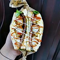 #尽享安心亲子食刻#盐酥鸡滑蛋三明治的做法图解12