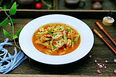 番茄虾仁烩花菜#带着美食去踏青#