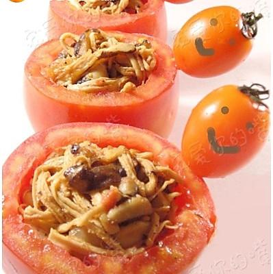 微笑的手撕鸡肉番茄盅的做法