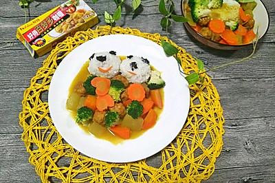 咖喱冬瓜丸子饭