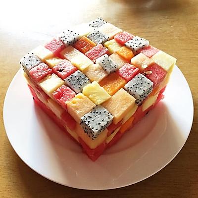 【纯水果蛋糕】水果积木!零脂肪减肥生日蛋糕。