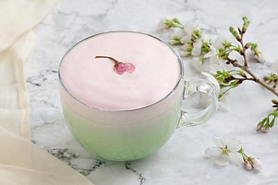 樱花岩盐奶盖抹茶拿铁【曼食慢语】
