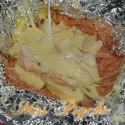 马苏里拉香葱鸡肉烤饭