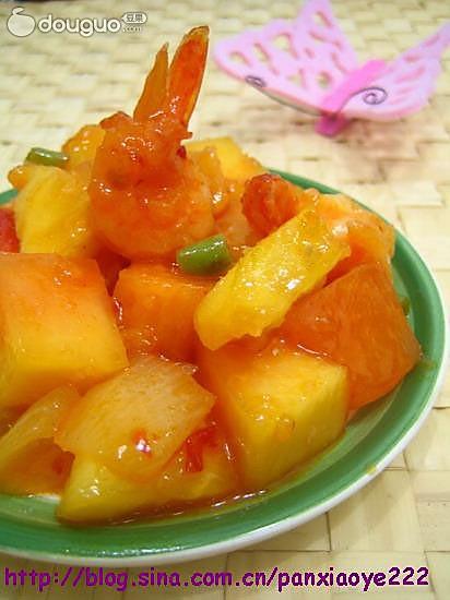 青木瓜菠萝甜辣虾的做法