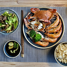 减脂晚餐 清蒸海鲜+西兰花黄牛肉