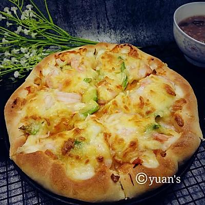 鲜虾牛油果芝心披萨