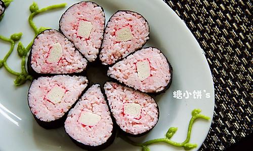 解夏。粉色系【花朵寿司】的做法