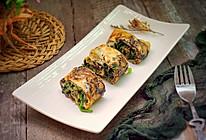 菠菜紫菜蛋卷#柏翠辅食节-营养佐餐#的做法