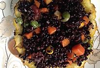 黑米饭炒腊肉的做法