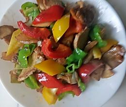青红辣椒,杏鲍菇,炒肉片,的做法
