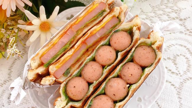 #丘比三明治#热压脆皮肠三明治的做法