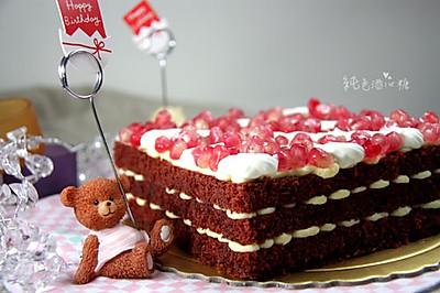 红石榴乳酪丝绒蛋糕