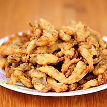 干炸蘑菇最家常做法 外酥里嫩鲜香可口 撒上椒盐竟然能吃出肉味