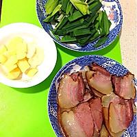 蒜苗炒腊肉的做法图解2