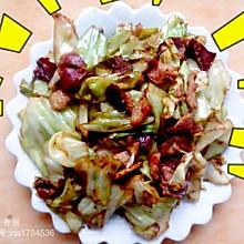 腊肉炒包菜