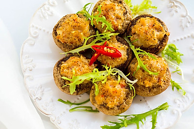 【口蘑酿虾】快手鲜味烤箱菜