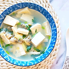 #洗手作羹汤#一滴油都不加|5分钟就能搞定的简单扇贝肉豆腐汤