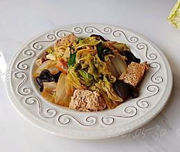 虾油白菜焖豆腐的做法