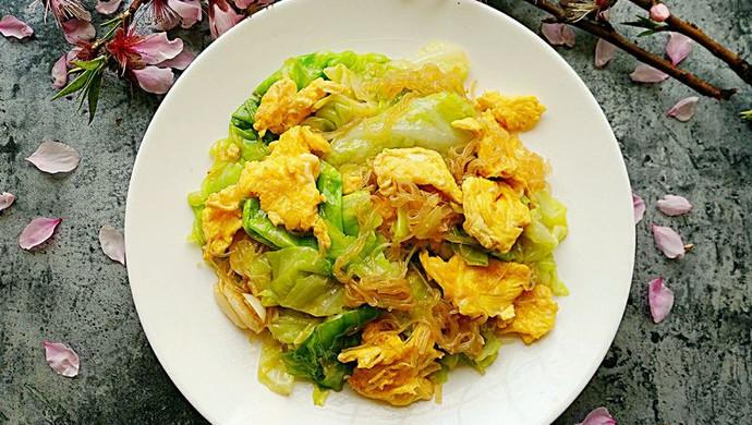 素食记~包菜粉丝炒鸡蛋