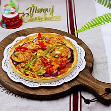 海虾杂蔬披萨#10分钟早餐大挑战#