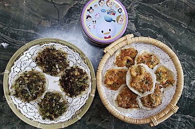 海蛎饼和炸虾饼