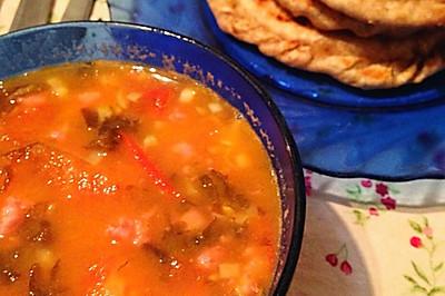 番茄紫菜汤+猪肉饼