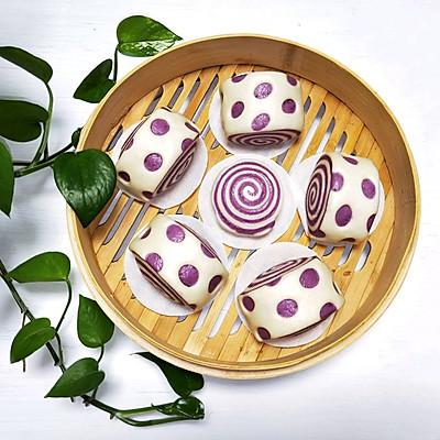 紫薯双色螺纹波点馒头