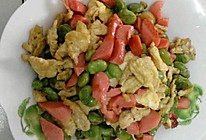 鸡蛋蚕豆炒香肠的做法