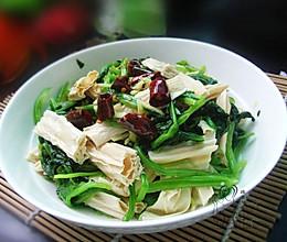 菠菜拌腐竹的做法