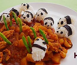 萌猫咖喱海鲜饭的做法