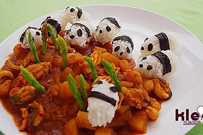 萌猫咖喱海鲜饭