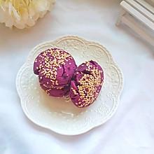 消灭家里存货:10分钟搞定简单快手的粗粮早餐:紫薯芝麻饼
