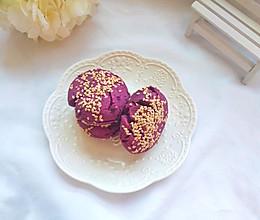 消灭家里存货:10分钟搞定简单快手的粗粮早餐:紫薯芝麻饼的做法