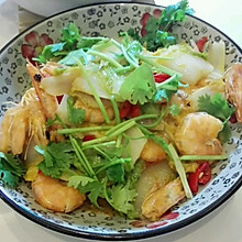 大虾烧娃娃菜