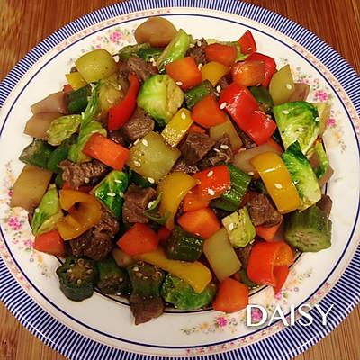 美式蔬菜炒蚝油牛肉丁