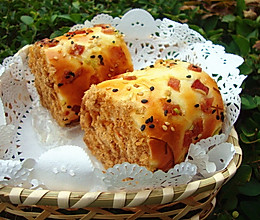 香葱培根肉松面包卷的做法