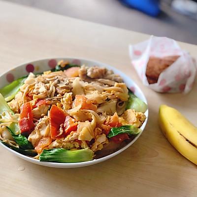 什锦番茄鸡蛋菌菇鸡肉炒刀削面