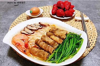 #多力金牌大厨带回家-上海站#鲜虾肥羊时蔬面