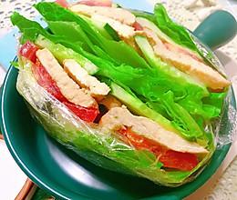 #夏日撩人滋味#快手减脂果蔬三明治的做法