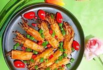 #夏日撩人滋味#营养又下饭的~香煎豆皮金针菇卷的做法