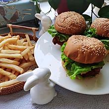 奥尔良鸡腿汉堡+炸薯条