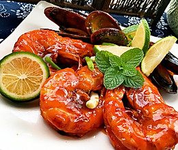 茄汁大明虾的做法