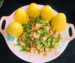 鲜虾蒜苔丁酿粗粮的做法