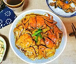 #下饭红烧菜#初冬的浓油赤酱-毛蟹炒年糕的做法