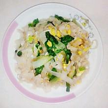 青菜鸡蛋炒粉